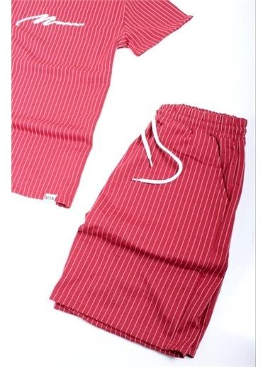Oksit Oldrich Man Çizgili Nakış Işlemeli Slim Fit Erkek Şort Tshirt Takım Bordo